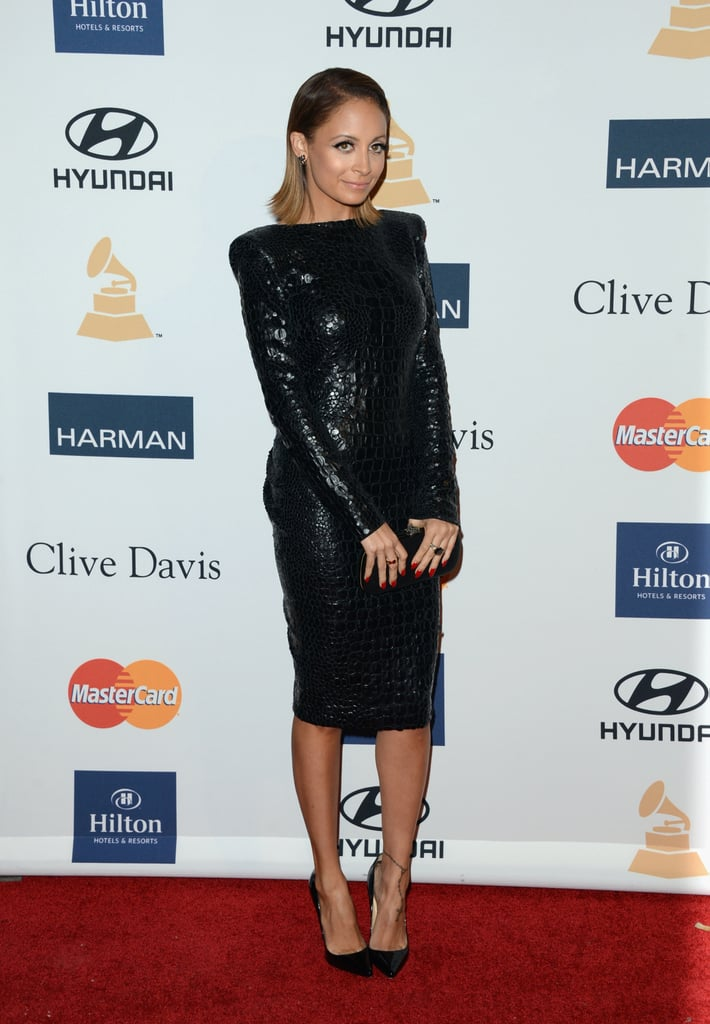 Nicole Richie looked as slick as ever in a black croc-embossed Tom Ford dress with patent Christian Louboutin pumps and a House of Harlow clutch.