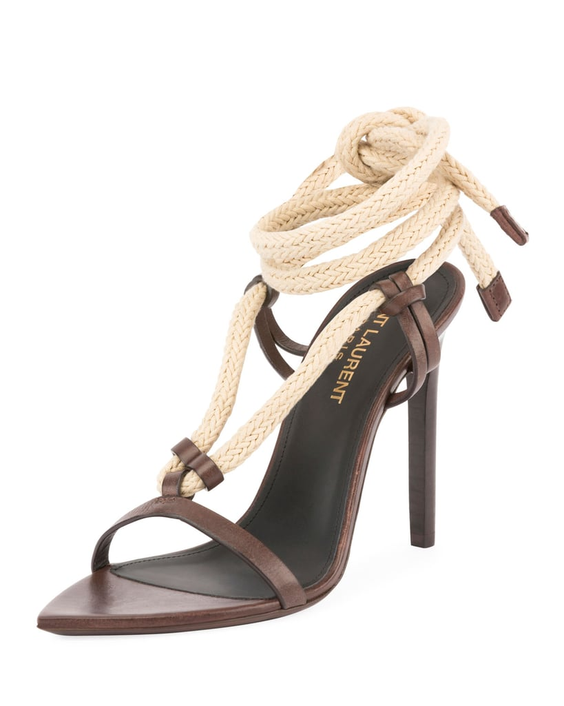 Chrissy's Exact Saint Laurent Majorelle Leather Rope Sandal