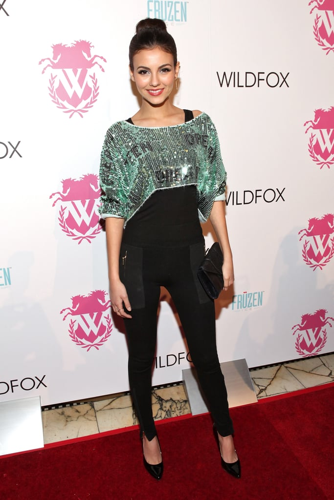 Victoria Justice looked glitzy posing on the red carpet at Wildfox in zippered riding pants and a cropped sequin top.