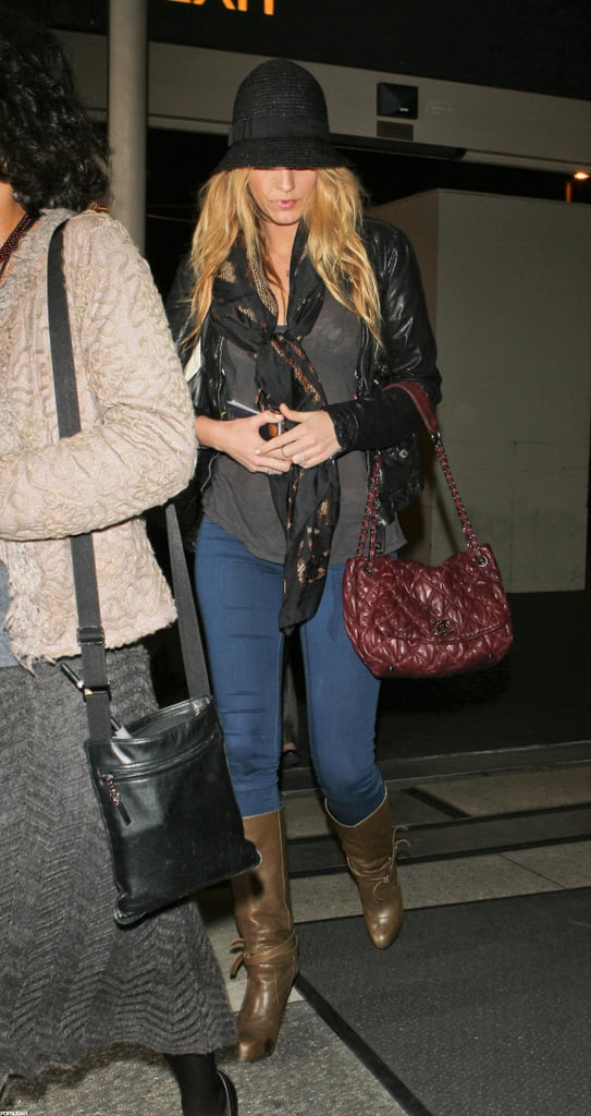 Blake Lively wore a black hat and boots in LA.
