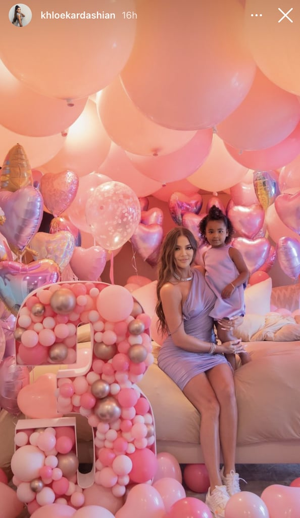 "By now, it's been well-documented and established that the Kardashians love an over-the-top birthday party. True Thompson's party for her third birthday on April 12 was of course no different, and though the guest list was scaled back this year, the decor certainly wasn't. To start, guests were greeted by Frozen's Anna and Elsa, as well as Tiana from The Princess and the Frog. Mountains of pastel balloons by Wild Child Party & Supply decorated the walk to the backyard, where there was a cookie-decorating station, a bounce house, and, yes, more balloons. True celebrated her big day with family, including Kylie Jenner, Kris Jenner, and cousins Saint West, Stormi Webster, and Dream Kardashian. Khloé reflected on True's birthday in a heartfelt post shared to Instagram. ""I am not ready for you to be 3. I almost cry every time I call you 'Baby True' and you correct me. You say in the sweetest voice 'I'm not a baby! I'm a big girl!' I'm not ready for you to be a big girl but you must know, No matter what age you are, You will always be my Baby True,"" she wrote.  ""You are every dream I've ever had of becoming a mommy come True."" ""You have changed my life in more ways than I ever could have dreamed of. ""You are my best friend. My greatest blessing. My entire world. Watching you grow up has been one of my greatest honors. Seeing life through your eyes is something so special. It's something magical. I will cherish every moment I have with you forever. You are every dream I've ever had of becoming a mommy come True.""  See photos of the sweet celebration ahead.      Related:                                                                                                           Khloé Kardashian and True Are 2 Peas in a Pod — See Their Cutest Photos"
