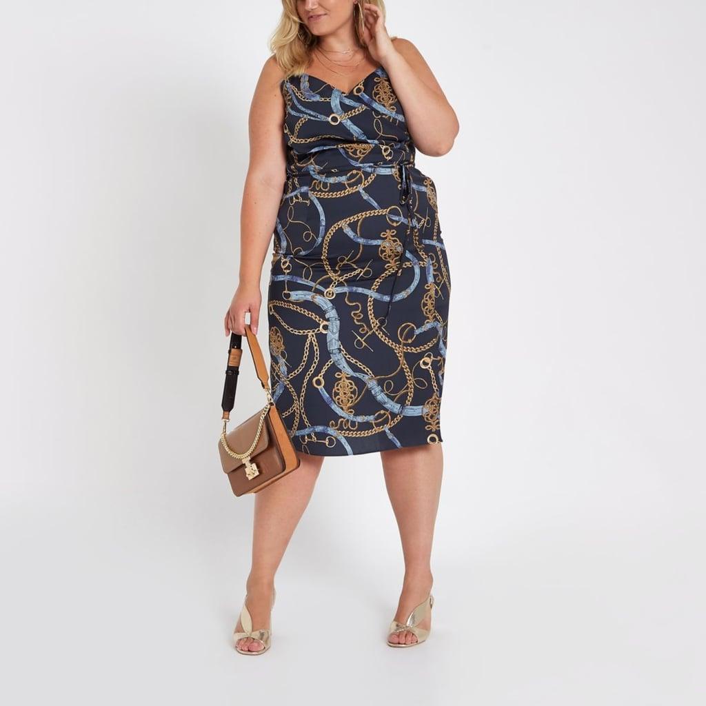 River Island Navy Print Midi Slip Dress