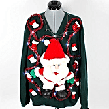 Vintage Retro Light-Up Santa Christmas Lights Sweater