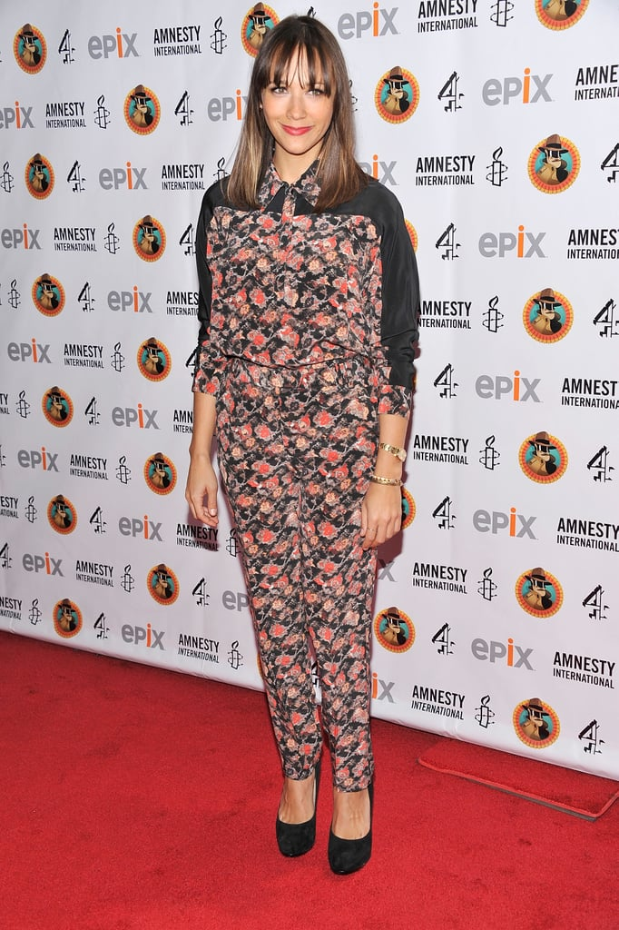 Rashida Jones worked the floral trend on a button-up jumpsuit for a pulled-together but playful vibe.