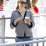 Jennifer Garner drank coffee while watching her girls skate.
