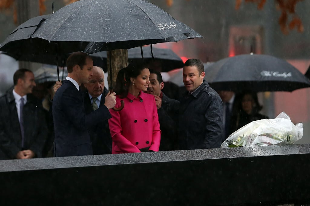 The Duke and Duchess of Cambridge braved terrible weather in NYC on Tuesday when they stepped out to begin the second day of their short trip to the US. Kate Middleton and Prince William started off the morning with a visit to the National September 11 Memorial Museum, where they visited reflecting pools and toured the grounds. They aren't the first royals to visit the former site of Ground Zero, as Queen Elizabeth II paid her respects during an official trip to the US in 2010. Later they will travel to The Door/CityKids, a youth organisation that focuses on arts in education to help foster development among at-risk youth. Afterwards, Will and Kate will make a stop at another Big Apple tourist destination — the Empire State Building — to attend an event to celebrate British artists and entertainers in the US. The event will be organised with the UK government's GREAT campaign, which aims to promote the UK's image abroad. At the Empire State Building reception, William will hand out the GREAT Tech Awards to this year's winners. But it's not over after that! The pair will end their tour on a glamorous note by attending the University of St Andrews's 600th anniversary dinner at the Metropolitan Museum of Art. (Will and Kate met while studying at St Andrews in Scotland.) The event hopes to raise funds for the university's scholarships and help bankroll a lectureship on American literature.  Earlier in their tour, Will and Kate made headlines when they rubbed shoulders with a few of America's most recognisable faces. The couple met Beyoncé and Jay Z at a Brooklyn Nets game on Monday night, as well as LeBron James, who gifted the couple with Cleveland Cavaliers jerseys. They also got to hang out with Hillary Clinton during a fundraising event at the British Consul General's residence. Earlier in the day, William traveled to Washington DC, where he got a sit-down with President Barack Obama in the Oval Office.