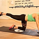 Extend the right leg straight behind you against the resistance band, and then bend halfway in. Repeat 20 times, then perform on left side.
