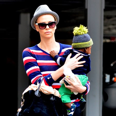 Charlize Theron Shaved Head Pictures With Son Jackson