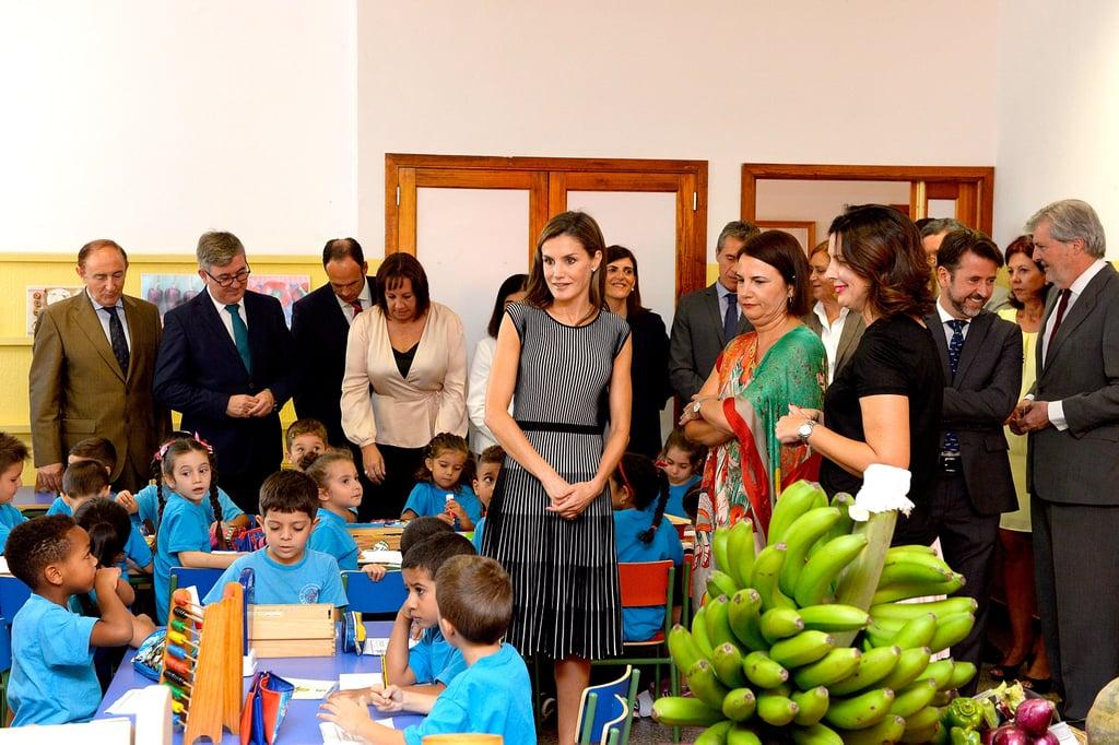 Queen Letizia Hugo Boss Stripe Dress September 2017