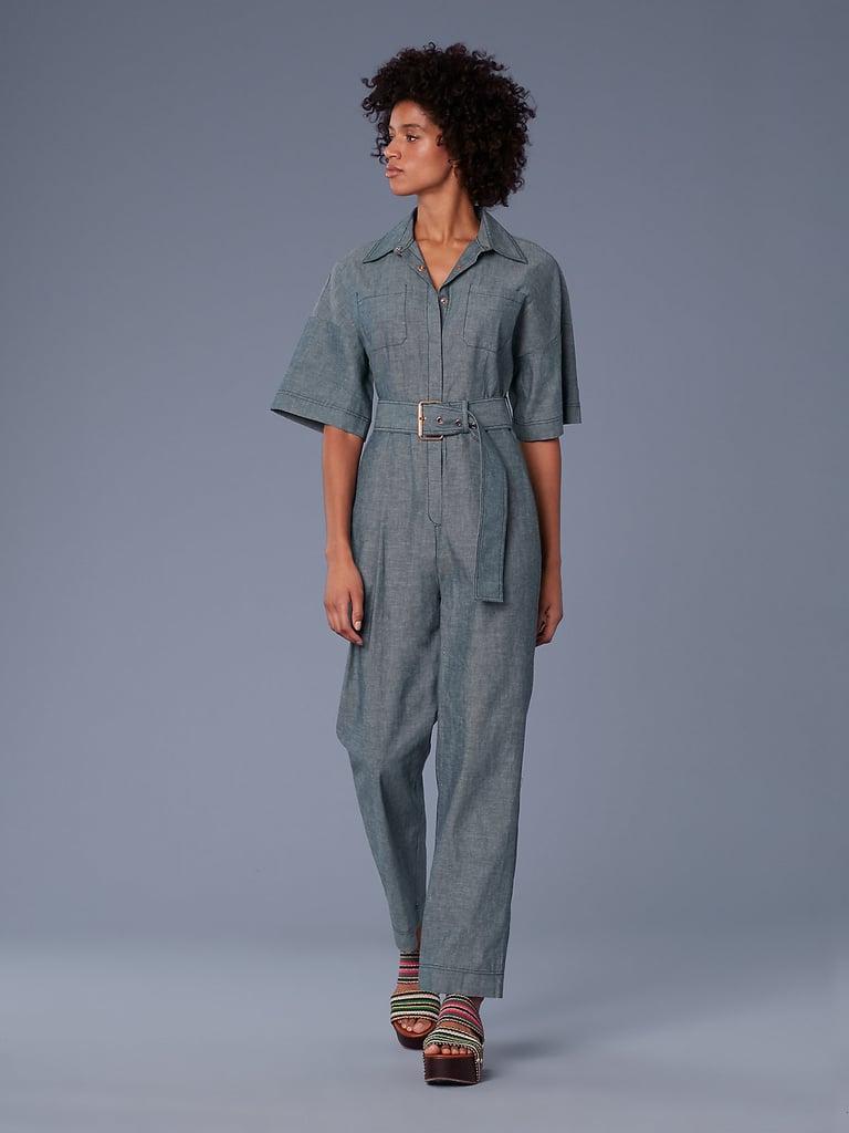 DVF Short-Sleeve Pocket Denim Jumpsuit