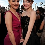 Emma Stone said hello to Dianna Agron.