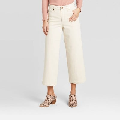 High-Rise Wide Leg Cropped Jeans