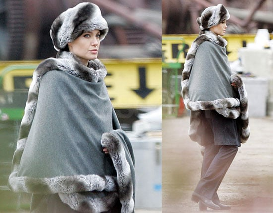 Photos of Angelina Jolie in a Russian-Looking Fur Hat on the Set of Salt in NYC
