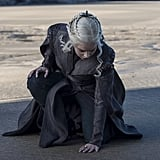 Not only is the stitching on her gown to die for, but she's got some enviable hair accessories. In the season's first episode, she rocks a silver three-headed dragon pin as a nod to her Targaryen lineage. Suddenly the butterfly clips I used to wear in junior high don't seem so cool anymore . . .
