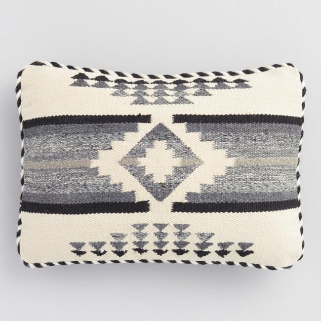 Black and White Nova Indoor Outdoor Lumbar Pillow