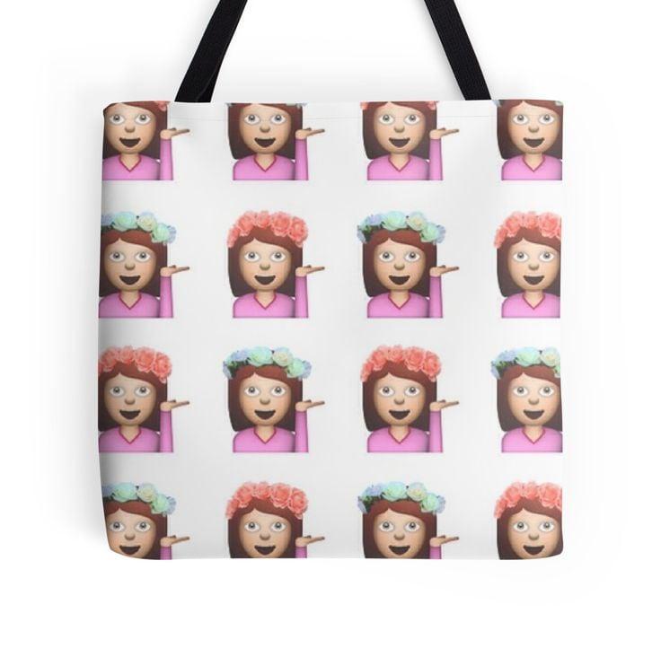 Sassy hula girl emoji pattern tote Bag ($16)