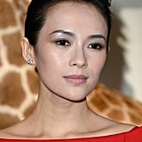 Zhang Ziyi opted for simply elegant eyeliner and a voluminous updo front row at Valentino.