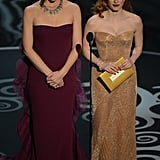 Jennifer Garner and Jessica Chastain on stage at the Oscars 2013.