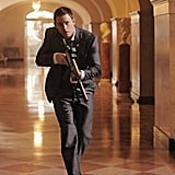 Channing Tatum appears quite adept at gliding down hallways with a machine gun. Just another day at the office.