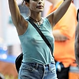 Eva Mendes arrived on the set of The Place Beyond the Pines.