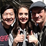 Nathan Fillion chilled with Community's Alison Brie and Ken Jeong. Source: Nathan Fillion on WhoSay