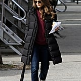 Keri Russell wore a red sweater under her jacket.