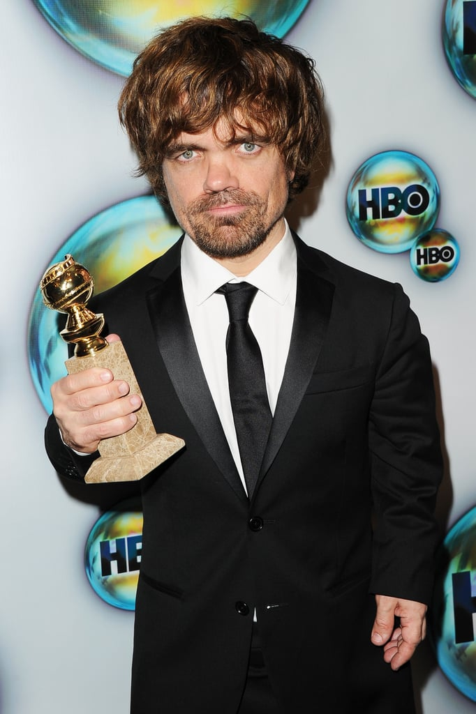 Peter Dinklage posed with his new Golden Globe.
