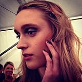 The eye makeup was a different take on the classic smoky eye with emerald shades at Nicole Miller.