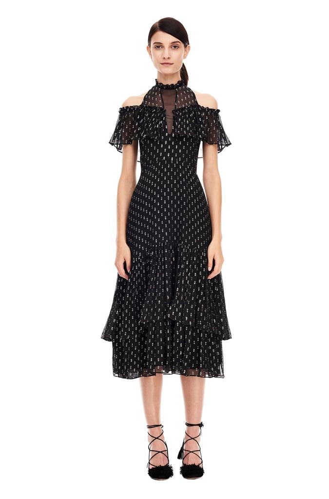 Rebecca Taylor Open Shoulder Metallic Clip Dress ($595)
