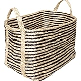 The Dharma Door USA Large Jute Floor Basket, Charcoal Stripe ($199)
