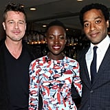 Brad, Lupita, and Chiwetel Ejiofor gathered at the 12 Years a Slave dinner on Saturday.