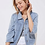 Loft Striped Denim Pocket Jacket