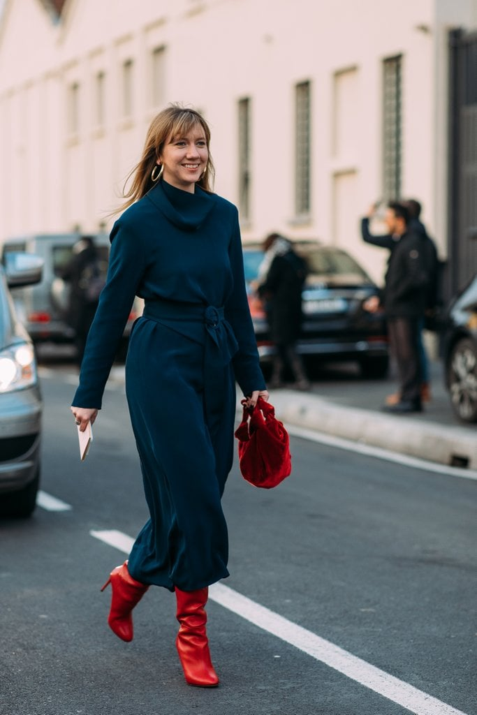 Bright red accessories are the easiest way to add a pop of color to your look.
