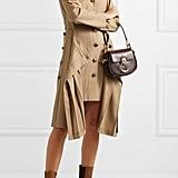Chloé Asymmetric Pleated Stretch Wool-Twill Midi Dress