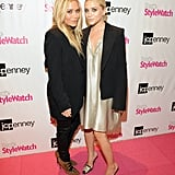 Mary-Kate Olsen and Ashley Olsen were in stylish sync in black blazers.