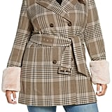 Halogen® x Atlantic-Pacific Faux Fur Cuff Plaid Coat