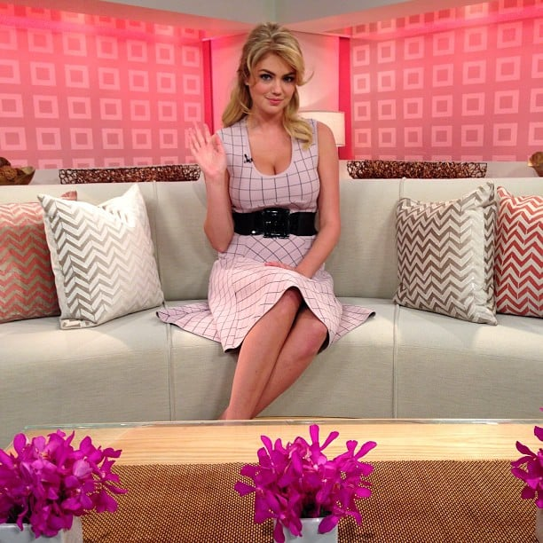 Kate Upton sat pretty in a windowpane-print dress on the set of Today. Source: Instagram user todayshow
