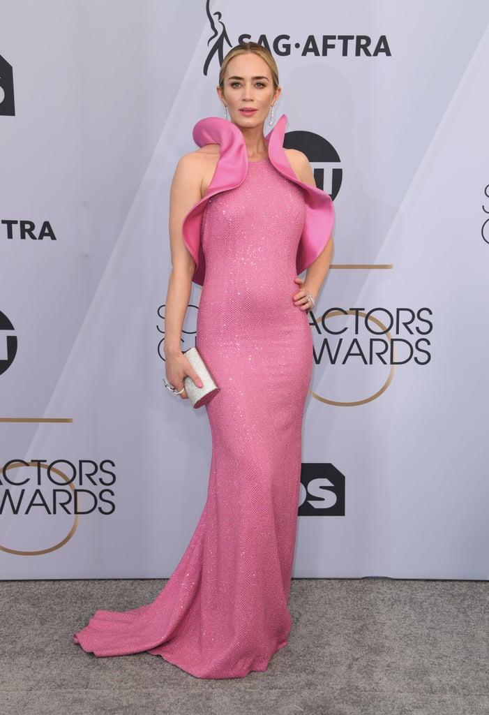 3d9df0b2265f Emily Blunt Pink Dress at the SAG Awards 2019   POPSUGAR Fashion