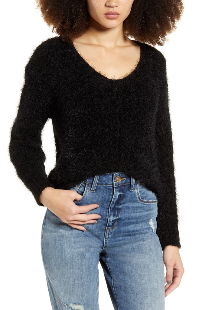 BP. V-Neck Eyelash Chenille Sweater