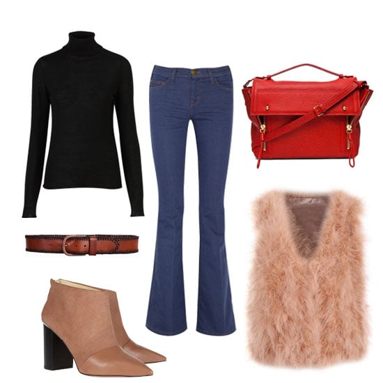 Channel your inner bohemian girl in this cozy '70s look. No doubt, the turtleneck and feather vest combo will surely keep you warm. Shop the look:  Topshop Knitted Merino Wool Roll Neck Top ($90) Linea Pelle Jessie Vintage Laced Edge Hip Belt ($165) See by Chloé Suede and Leather Ankle Boots ($415) Current/Elliott The Bell Mid-Rise Flared Jeans ($76, originally $190) Romwe Ostrich Hair Nude Pink Vest ($82) 3.1 Phillip Lim Pashli Messenger ($750)