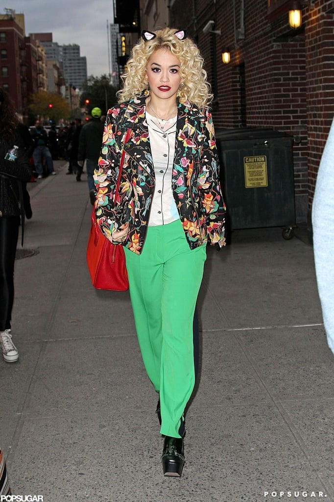 Rita Ora wore cat ears leaving The Late Show in NYC on Wednesday.