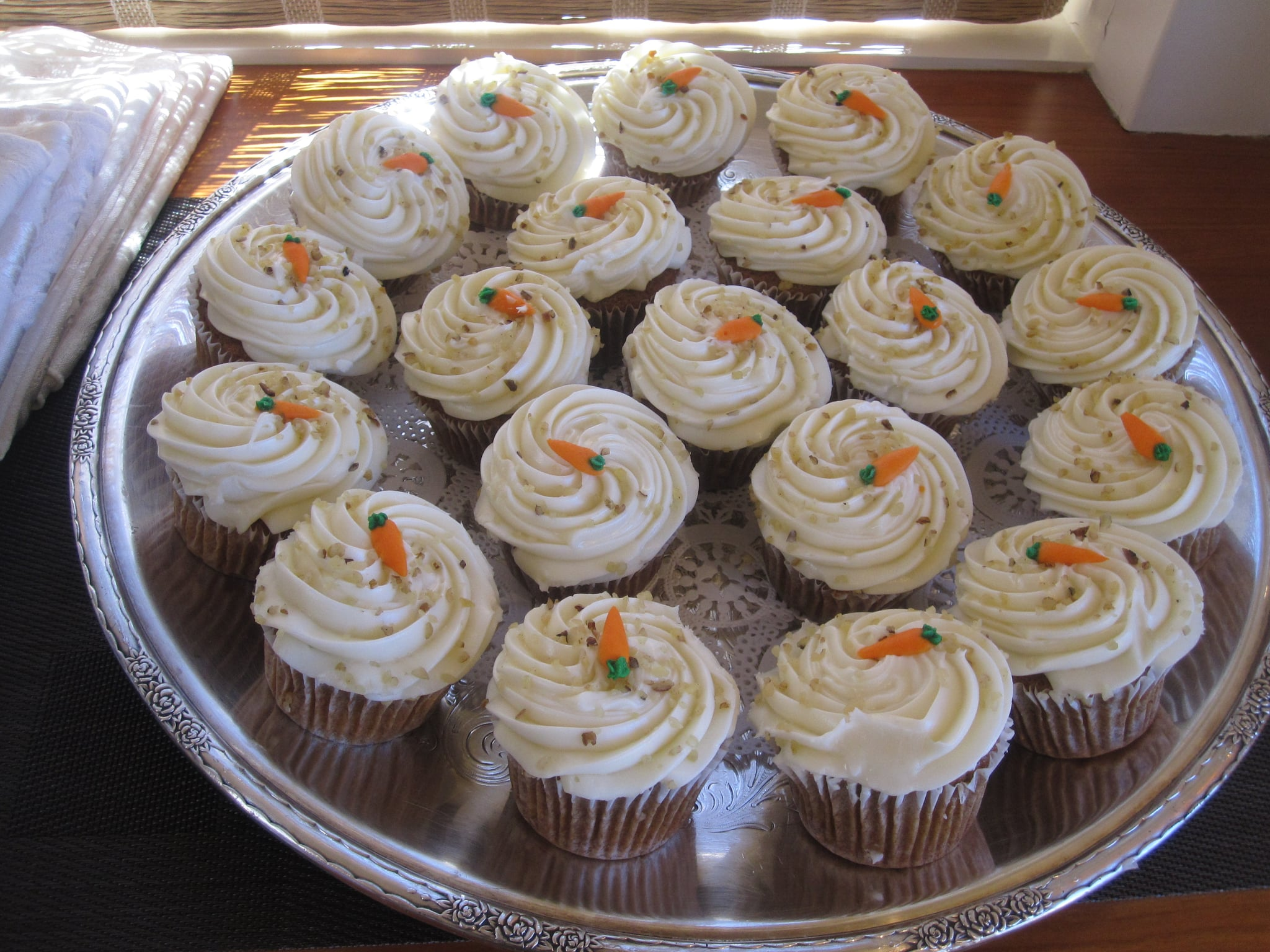 The bride's favorite flavor of cake is carrot. Naturally they had enough carrot cupcakes for the crowd. These super moist cakes with delicious cream cheese frosting were from Sweet Things.