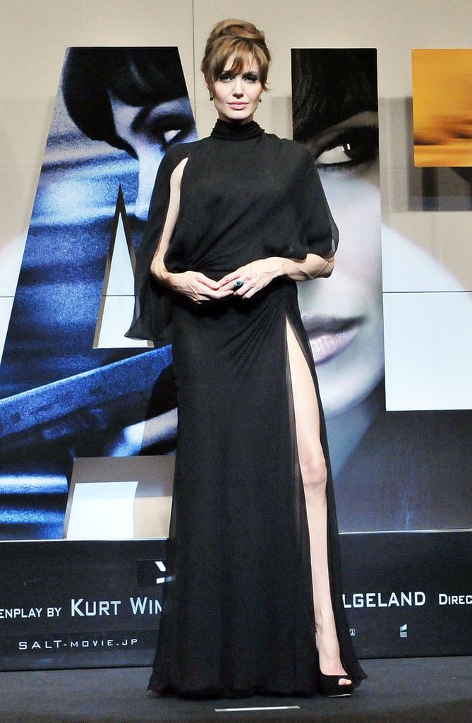 At the Japan premiere of Salt wearing Atelier Versace.