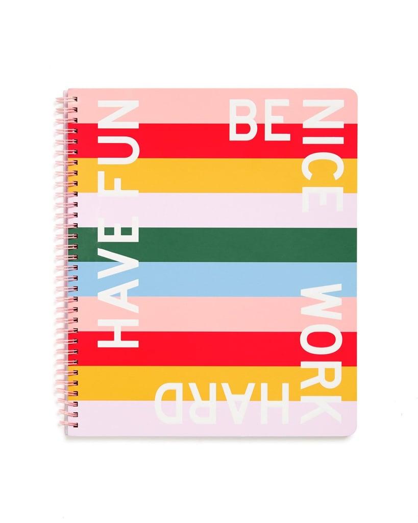 Be Nice Have Fun Work Hard Rough Draft Large Notebook