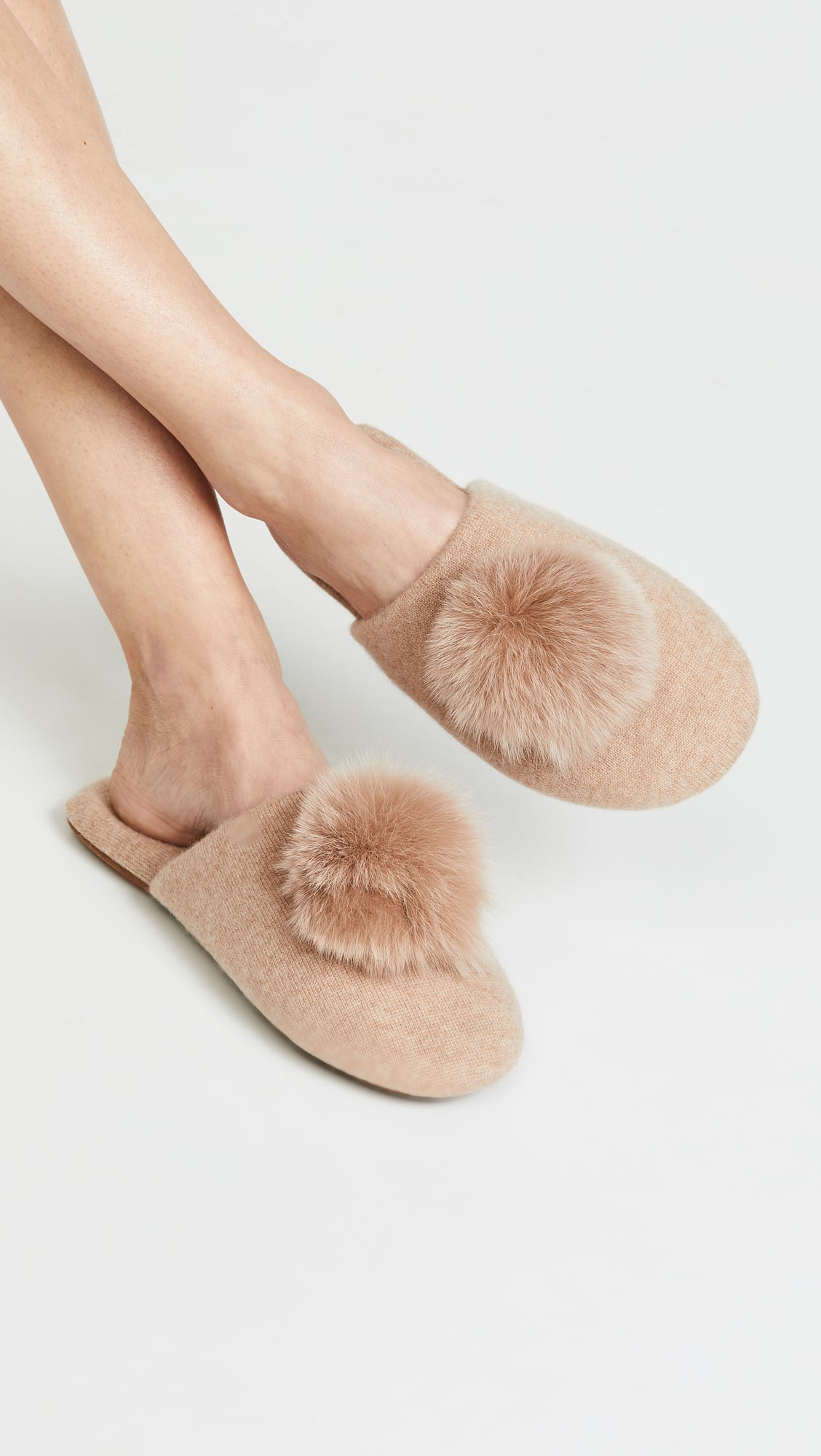 Minnie Rose Cashmere Pom Pom Slippers