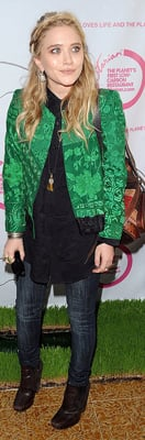 Mary-Kate Olsen Wears Green Silk Jacket to Grand Opening of Otarian