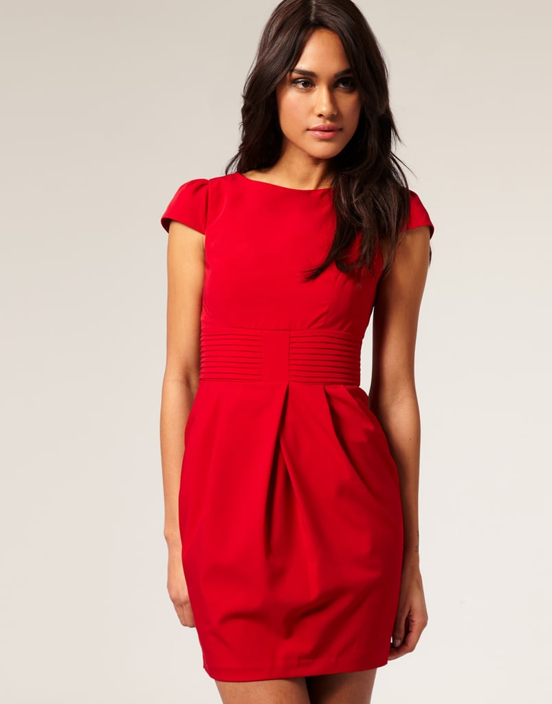 For the polished party girl — just add a statement heels and pretty jewels.  ASOS Tulip Dress with Pleat Waist (approx $41)