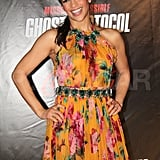 Paula Patton got into the Brazilian spirit with a tropical print dress.