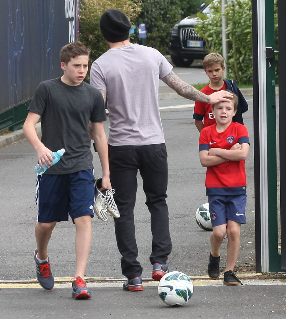 David Beckham joked around with Cruz Beckham after a training session with his sons and his Paris Saint-Germain team.