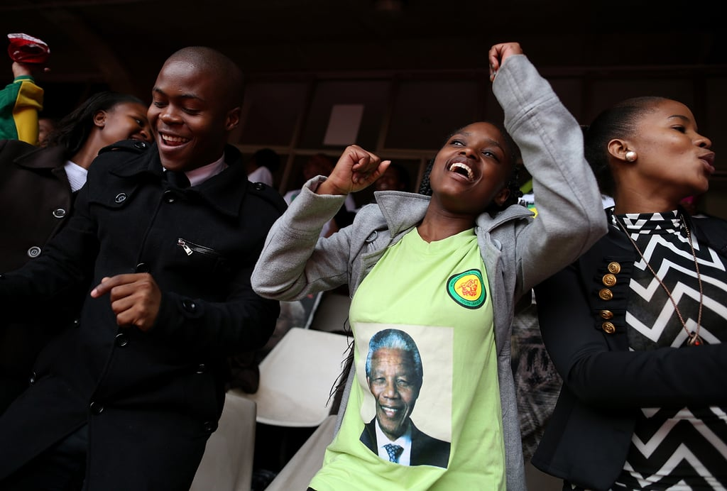 South Africans sang and danced during the celebratory memorial.